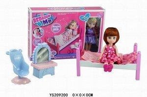 Кукла малышка 63005W Катенька на кровати в кор.