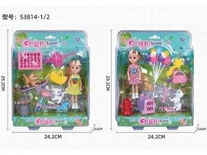 Кукла малышка 53814-1/2 с питомцами и аксесс. на блист.