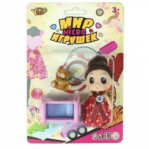 Кукла 7668М Мир Микро Игрушек с мишкой и кроваткой, на блист.