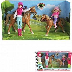 Кукла 309В Жокей с малышкой и лошадками в кор.