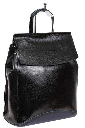 Рюкзак-трансформер женский из гладкой натуральной кожи, цвет чёрный