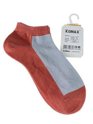 Короткие женские носки, цвет оранжево-розовый с белым
