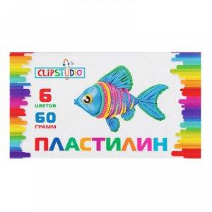 ClipStudio Пластилин 6 цветов 60 грамм, в картонном выдвижном пенале