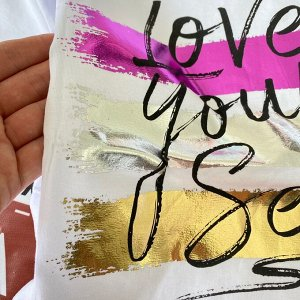 "Футболка женская ""Love your self"" Турция размер 48-52"