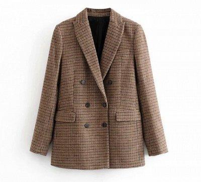 Время покупать Теплый пиджак в клетку за 1499р