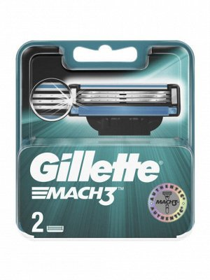 Gillette Сменные кассеты MACH3 ТУБО ПО 2ШТ ЖИЛЕТТ