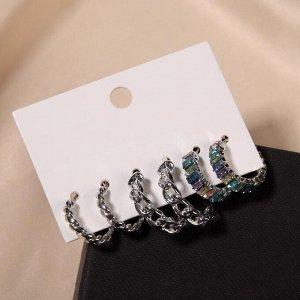 """Серьги-кольца набор 3 пары """"Звенья"""" цепочки, цветные в серебре, d=2"""