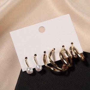 """Серьги-кольца набор 3 пары """"Нежность"""" изящная жемчужинка, цвет белый в золоте, d=2,5"""