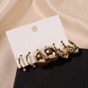 """Серьги-кольца набор 3 пары """"Юность"""" крупные линии, цвет белый в золоте, d=2"""