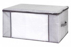 "Органайзер для хранения одеял и пледов 60*45*30 см ""Твид"" на молн., с проз.окош,2 руч"