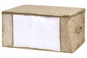 """Органайзер для хранения одеял и пледов 60*45*30 см """"Золотое сердце"""" на молн., с проз.окош,2 руч"""