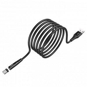 Кабель USB HOCO X60 Honorific, USB - Type C , 2А, 1 м, черный, с магнитным выходом