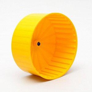 Колесо для грызунов полузакрытое пластиковое, без подставки, 14 см, жёлтое