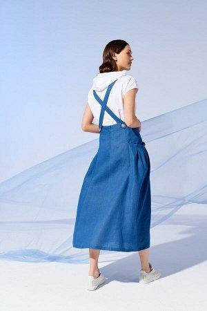 #н/д Рост: 170 см. Состав ткани: блузка: 92% хлопок, 8% эластан, юбка: 100% лён Комплект, состоящий из хлопковой блузки и юбки. Хлопковая блузка прямого силуэта, с капюшоном, в который вставлен шнур,