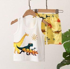 """Детский костюм (шорты+майка), принт """"динозавр на отдыхе"""""""