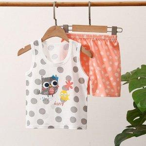 """Детский костюм (шорты+майка), принт """"совы"""""""