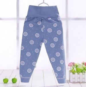 """Детские штаны, принт """"планеты"""", цвет синий"""