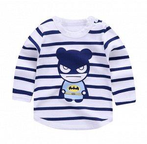"""Детская кофта, принт """"зверушка супергерой"""", цвет белый, темно-синий"""