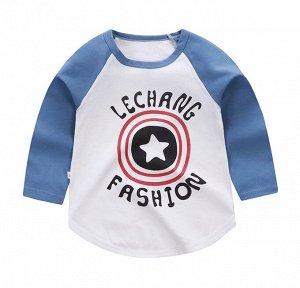 """Детская кофта, принт """"звезда"""", цвет белый/синий"""