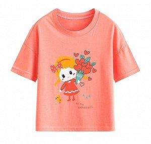 """Детская футболка, принт """"девочка с букетом"""""""