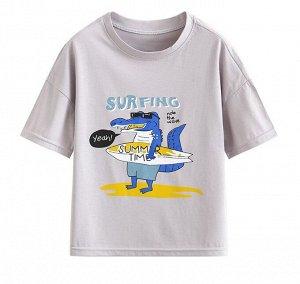"""Детская футболка, принт """"крокодил серфер"""""""