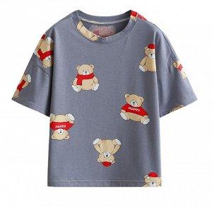 """Детская футболка, принт """"мишка в одежде"""""""