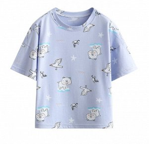 "Детская футболка, принт ""медвежонок и птички"""