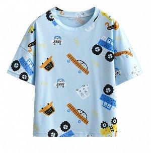 """Детская футболка, принт """"машинки"""", цвет голубой"""