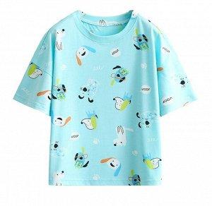"""Детская футболка, принт """"собачки"""", цвет морской волны"""