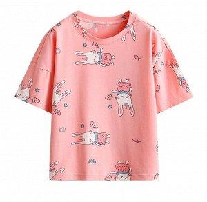 """Детская футболка, принт """"зайчик в платье"""", цвет розовый"""