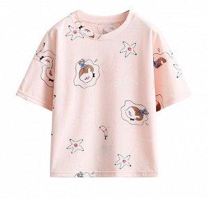 """Детская футболка, принт """"девочка и морские звезды"""", цвет светло-розовый"""