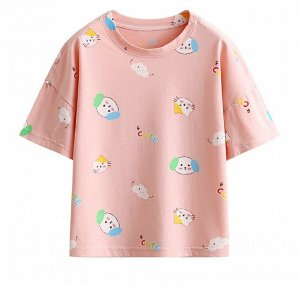 """Детская футболка, принт """"собачки"""", цвет розовый"""