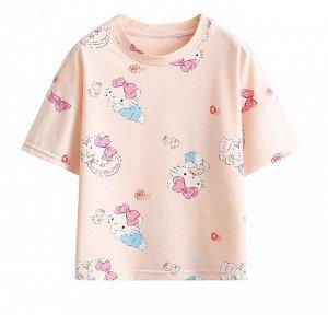 """Детская футболка, принт """"кошечка с бантиком"""""""