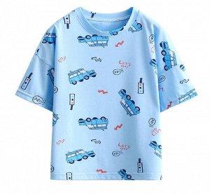 """Детская футболка, принт """"машинки"""", цвет синий"""