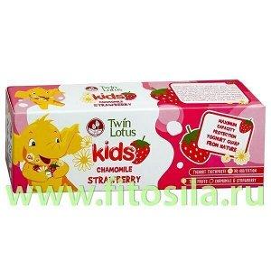 "Детская зубная паста Твин Лотус ""Клубника и Ромашка"" (Twin Lotus Kid's Yoghurt Toothpaste-Strawberry&Chamomile), 50 г"