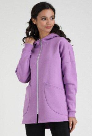 Куртка /Орхидея Состав: 70% Cotton 30% Elastane Женская удлиненная куртка на молнии, с накладными карманами и капюшоном. Материал: French terry с/н - футер 3-х нитка с начесом. Один из самых плотных р