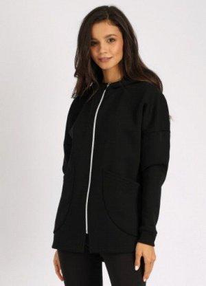 Куртка /Черный Состав: 70% Cotton 30% Elastane Женская удлиненная куртка на молнии, с накладными карманами и капюшоном. Материал: French terry с/н - футер 3-х нитка с начесом. Один из самых плотных ра