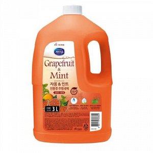 Экологичное средство для мытья посуды, детских бутылочек, овощей и фруктов «Грейпфрут и мята» (с ароматом грейпфрута и душистых трав) 3 л канистра / 4
