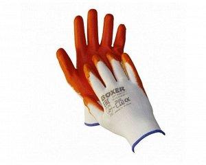 Перчатки - №32 нейлоновые с облегченным оранж. нитриловым покр,BOXER (уп 12 пар/1кор-240 пар) (р.10)