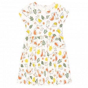 К 5646 к1270 Платье для девочки (сливки,осенний лес)