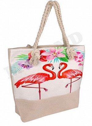 Сумка пляжная 46х36 см Красивые фламинго СП-5279 MILAND {Китай}