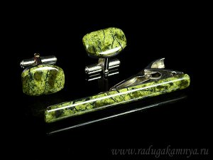 Запонки и зажим для галстука из змеевика, 18*14мм, 64*7мм