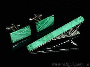 Запонки и зажим для галстука из малахита, 19*12мм, 61*7мм.