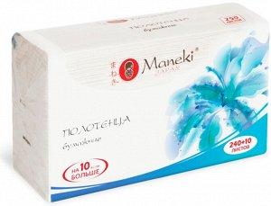 """Полотенца бумажные для диспенсера """"Maneki"""" Dream, белые, V-сложения (215х225мм), 250 шт./упак"""