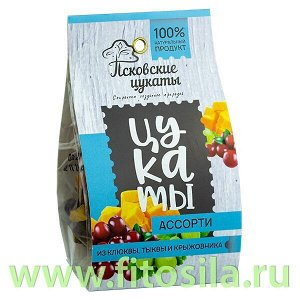 Цукаты АССОРТИ (Клюква, тыква,крыжовник, сахар,лимонный сок), 80г,  Псковские цукаты
