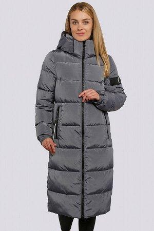 Графит Женские длинные пальто на синтепухе являются настоящим трендом зимнего сезона. Удобное пальто прямого силуэта. Центральная застежка  и боковые карманы на «молнии». На левом рукаве оригинальная
