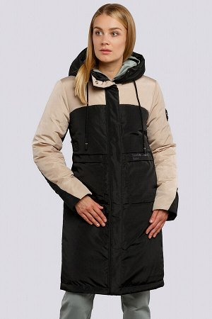 Черный Пальто зимнее на утеплителе термофин. Удобное пальто прямого силуэта, выделяется контрастным цветовым сочетанием. Застежка на молнию и планку с кнопками, боковые карманы имеют оригинальный кр