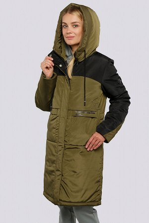 Хаки Пальто зимнее на утеплителе термофин. Удобное пальто прямого силуэта, выделяется контрастным цветовым сочетанием. Застежка на молнию и планку с кнопками, боковые карманы имеют оригинальный крой