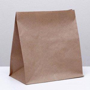 Пакет крафт бумажный фасовочный, прямоугольное дно 32 х 20 х 34 см