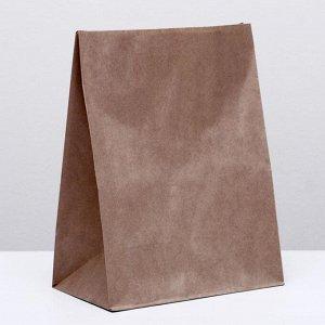 Пакет крафт бумажный фасовочный, прямоугольное дно 26 х 15 х 34 см